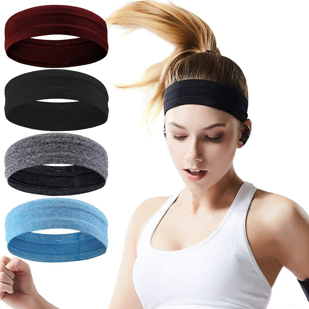 Calbeing Non Slip Headbands for Women Men, Grip Silicone Yoga Sweatband, Stretchy Soft Running Wicking Head Sweat Set, Lightweight Elastic Exercise Band, Workout Sports Indoor Fitness Gym