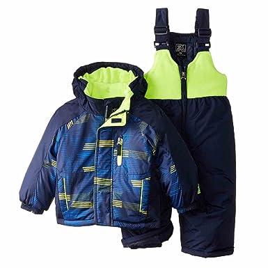 d52549f51 Amazon.com  ZeroXposur Infant Toddler Boys Blue Yellow Snow Bibs ...