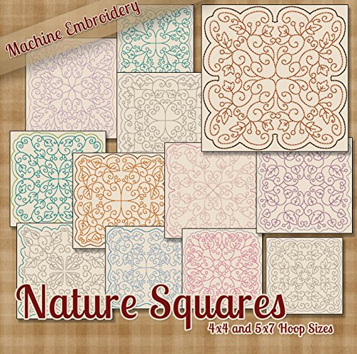 Nature Squares Redwork Embroidery Machine Designs on CD - 12 Lovely Patterns - 2 Sizes Each - PES JEF EXP XXX VIP HUS DST