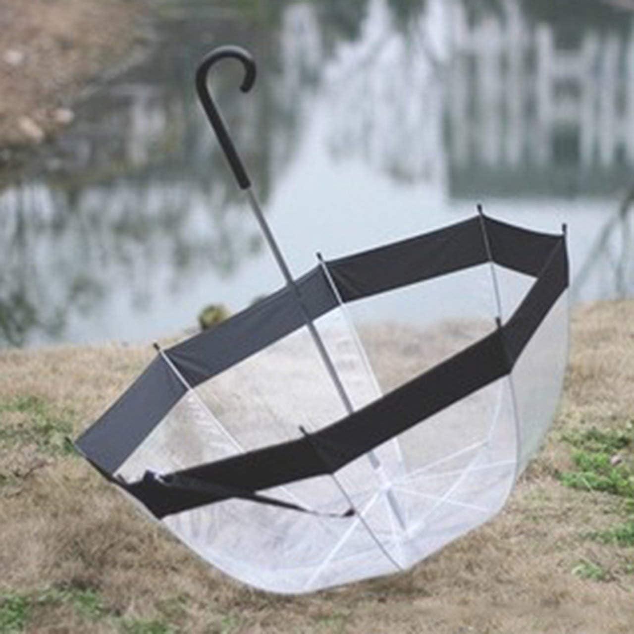 FRjasnyfall Parapluie Transparent en Plastique Belle Pluie Ensoleill/ée Femmes Filles Filles Dames /À Long Poign/ée Birdcage D/ôme Voir /À Travers Les Parapluies Noir
