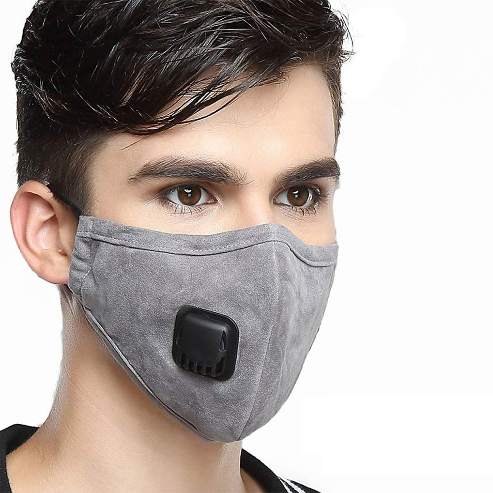 Pollution Mask Military Grade N95 Anti Dust+2 Filters Washable Cotton Respirator with Adjustable Ear Strap/Allergy/Cycling/Running/Hiking/Painting/Cleaning/Construction (Men-Grey) by CYG&CL