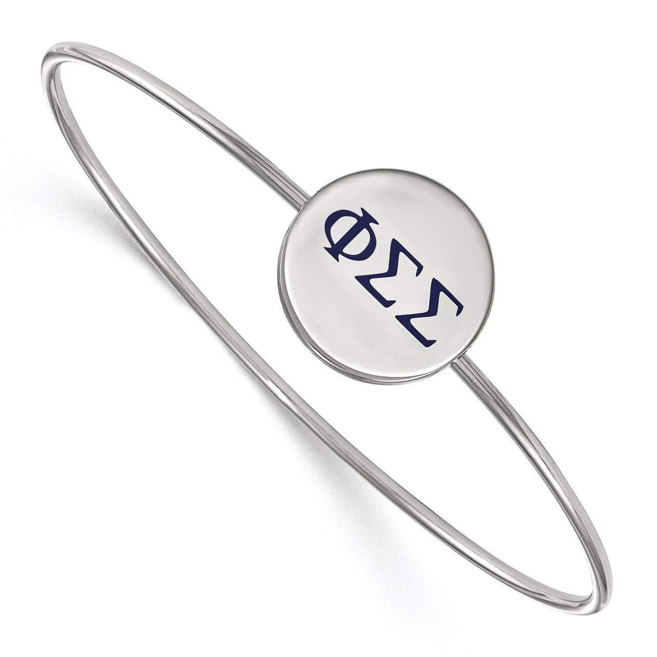 Lex /& Lu LogoArt Sterling Silver Phi Sigma Sigma Enameled Slip-on Bangle LAL162867