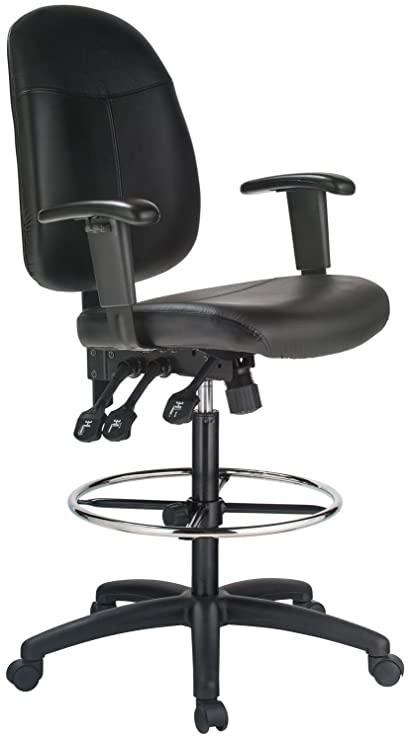 Incroyable Extra Tall Ergonomic Leather Drafting Chair Black/Black