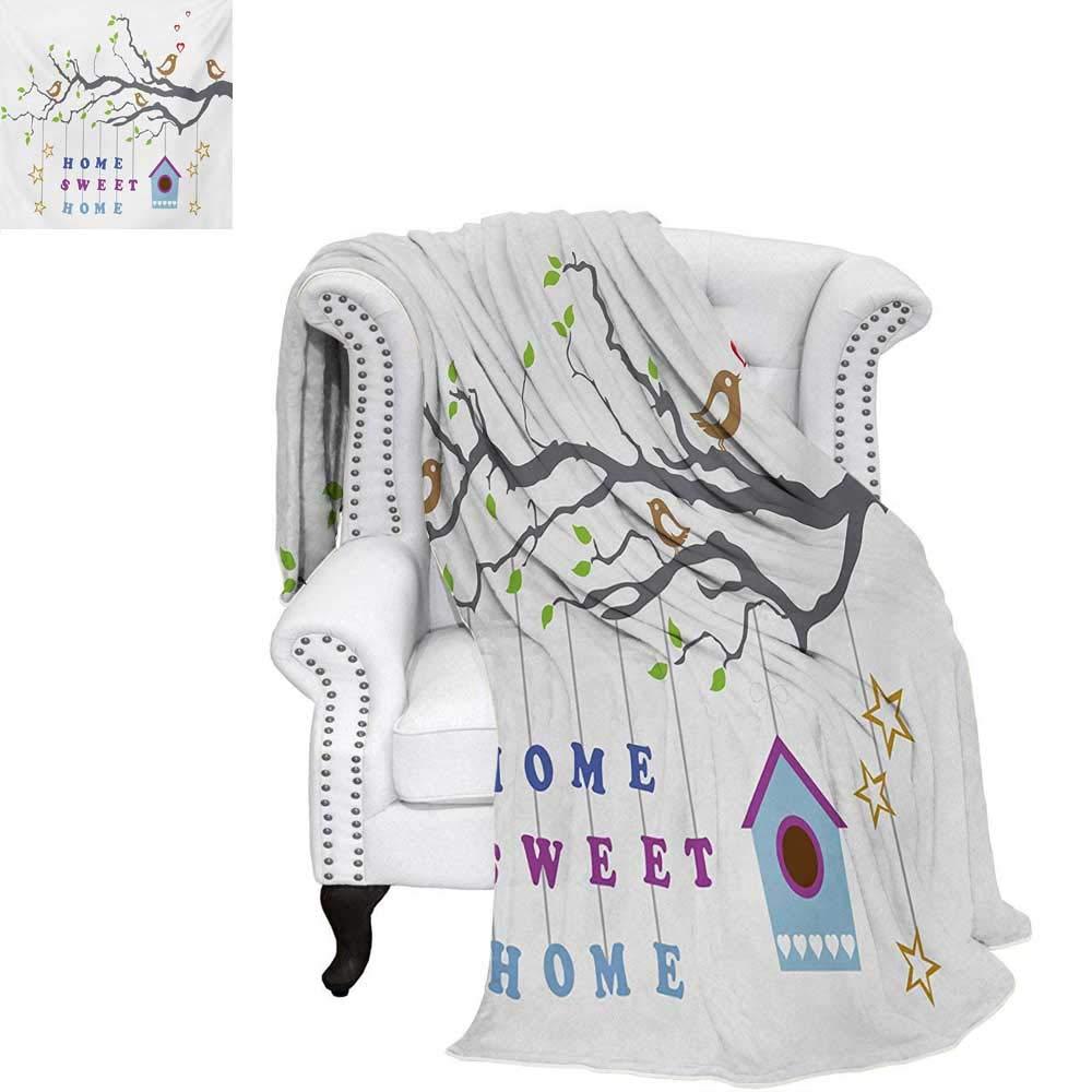 warmfamily Home Sweet Home 暖かいマイクロファイバー オールシーズンブランケット ベッドまたはカウチ用 カートゥーンスタイル コテージハット グリーンヒルトップ 花の庭 朝のスローブランケット マルチカラー 60