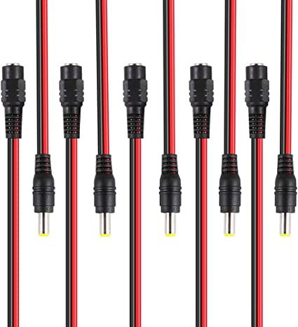 10 Male 10 Female Red Black DC Power Pigtails Adapter CCTV DVR Camera Lead Plug