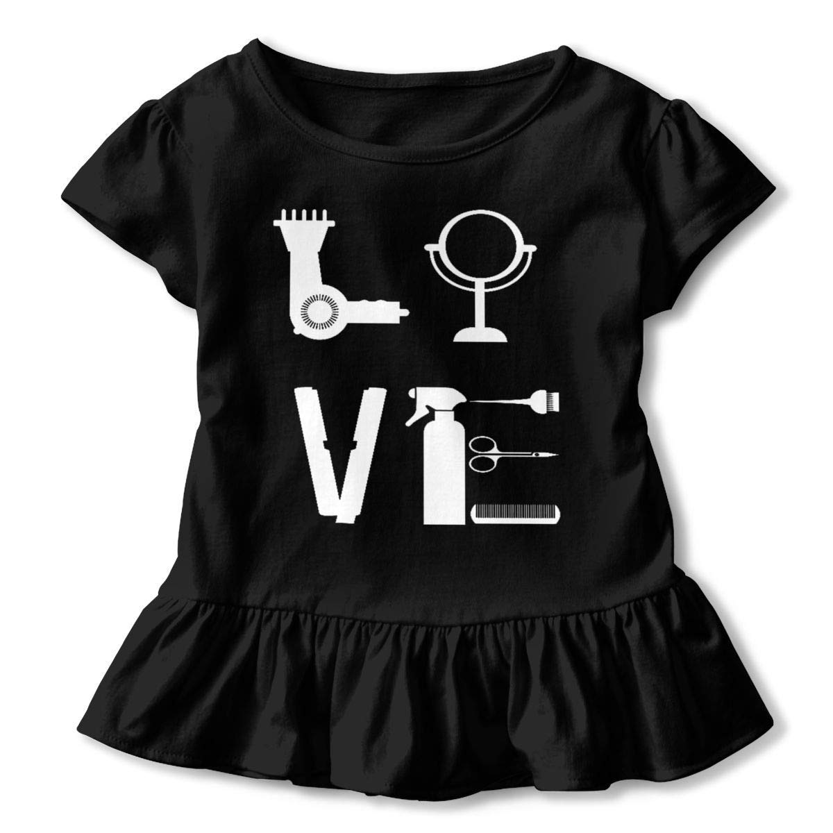 lu fangfangc Hairstylist Love for Her Hair Stylist T-Shirt Toddler Flounced T Shirts Cartoon Outfits for 2-6T Baby Girls