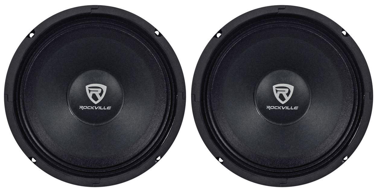 (2) Rockville RM84PRO 8'' 4 Ohm 600 Watt SPL Midrange Min-Bass Car Speakers by Rockville