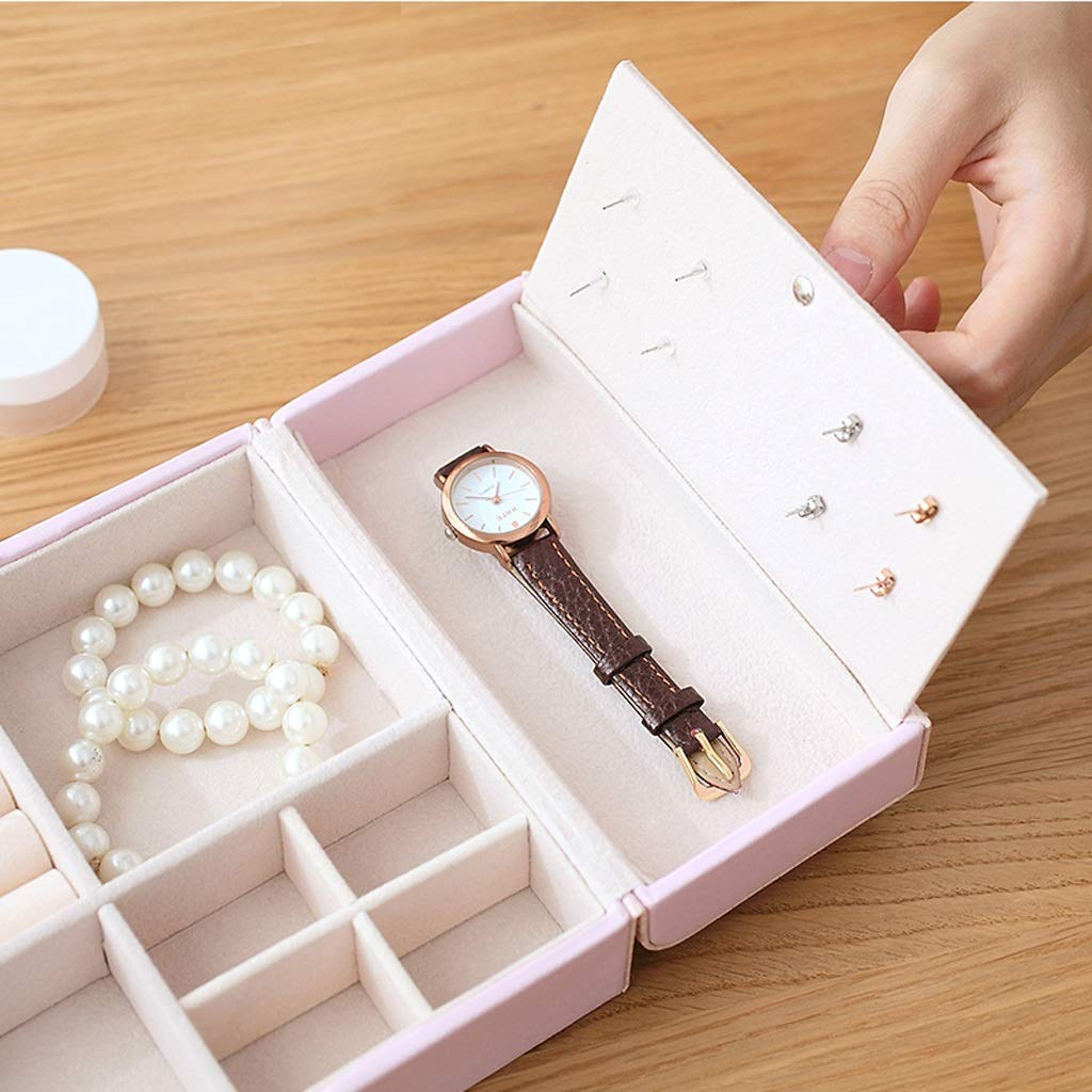 Jewelry Jewelry Storage Box Travel Jewellery Organizer Case Portable Jewelry Bag for Rings, Necklaces, Bracelets, Earrings (Color : Pink) by Boyang (Image #5)