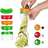Linkax Coupe légumes 3 Lames Râpe Légumes Spiraliseur de légumes trancheuse spirale main pour légumes Pommes de terre à spaghetti concombre Râpe éplucheur Carottes Mandoline