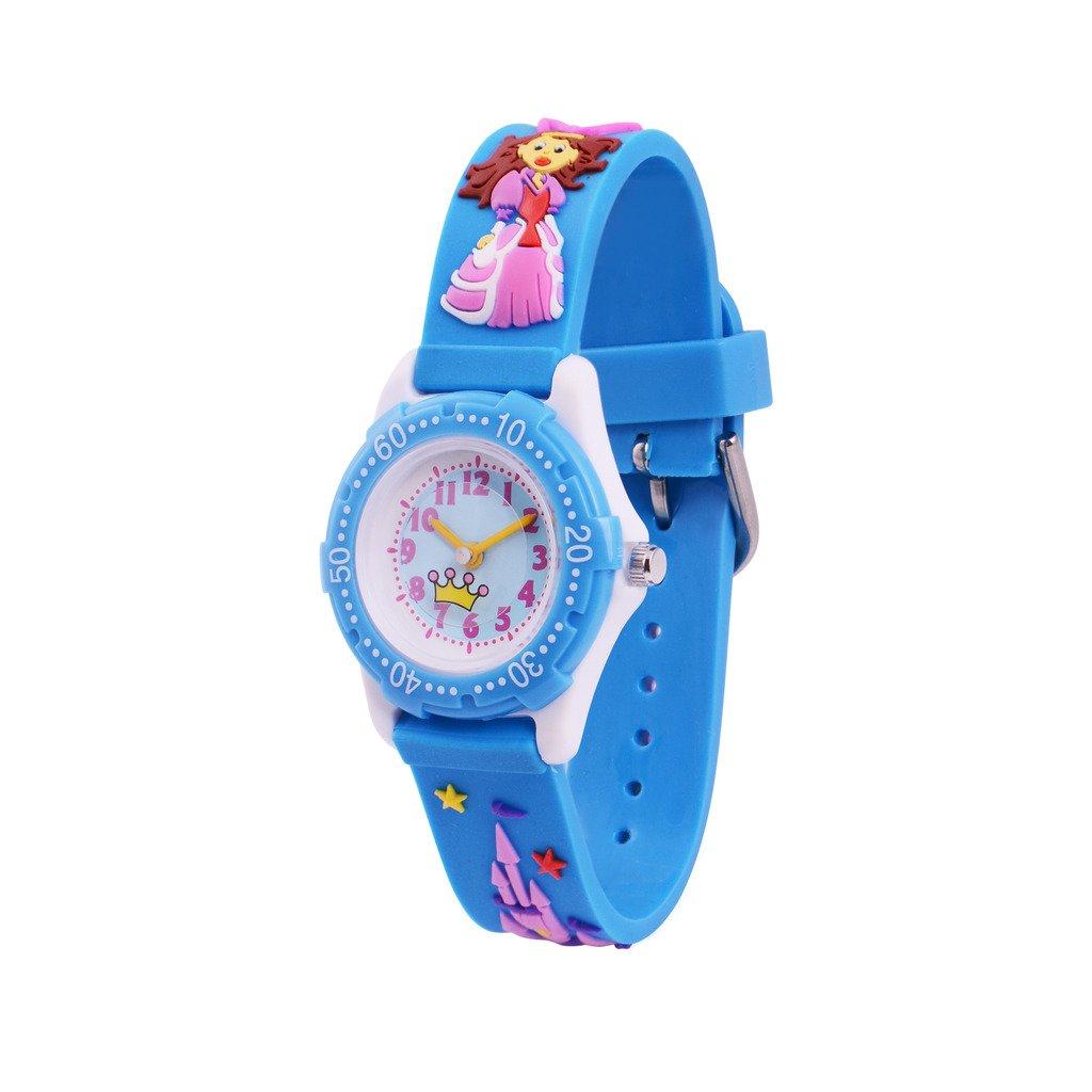 Wolfteeth Watches for Girls Kids Analog Watch Waterproof Girls Watch Blue 3D Princess Watch Strap 14mm Watch Band 306002