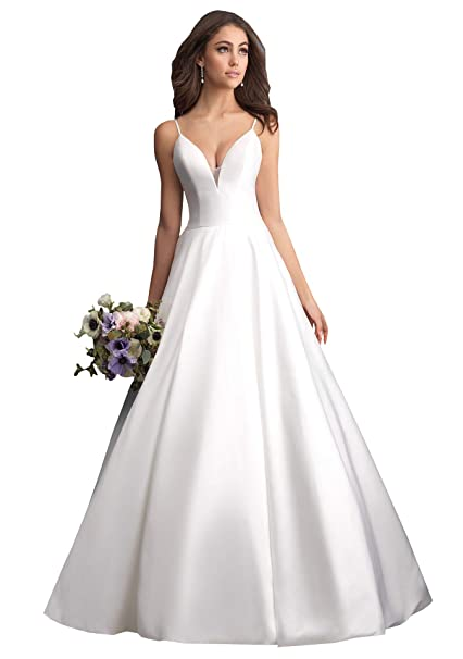 Now And Forever A Line Spaghetti Straps V Neck Satin Wedding