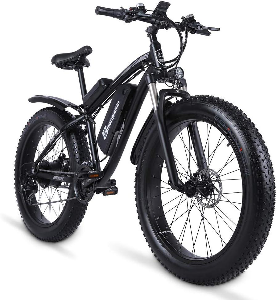 Shengmilo Bicicleta de Montaña Eléctrica Bicicletas Eléctricas para Adultos Motor sin Escobillas 1000W, con 48V 17Ah Batería de Litio,Instrumento LCD Central,Shimano 21 Velocidades