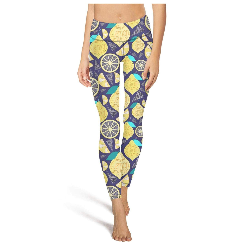 LO RAER Bright Pattern of Lemon Waterproof Power Yoga Yoga Clothing Pants for Beautiful Women