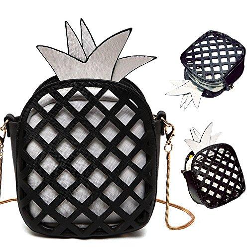 Pershoo Small Crossbody Bag for Women, 3D Pineapple PU Leather Messenger Bag Cute Adjustable Strap Long Chain Shoulder Bag Mobile Phone Wallet Casual Purse Makeup Pouch Clutch Handbag - Black