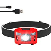 Three trees Head Torchlight Sensor Brightest LED with Red Light Rechargeable Outdoor Headlamp Flashlight for Kids Men…
