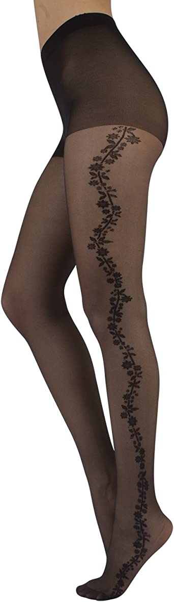 BLACK TIGHTS WITH SIDE ROSE PATTERN 3 COLOURS