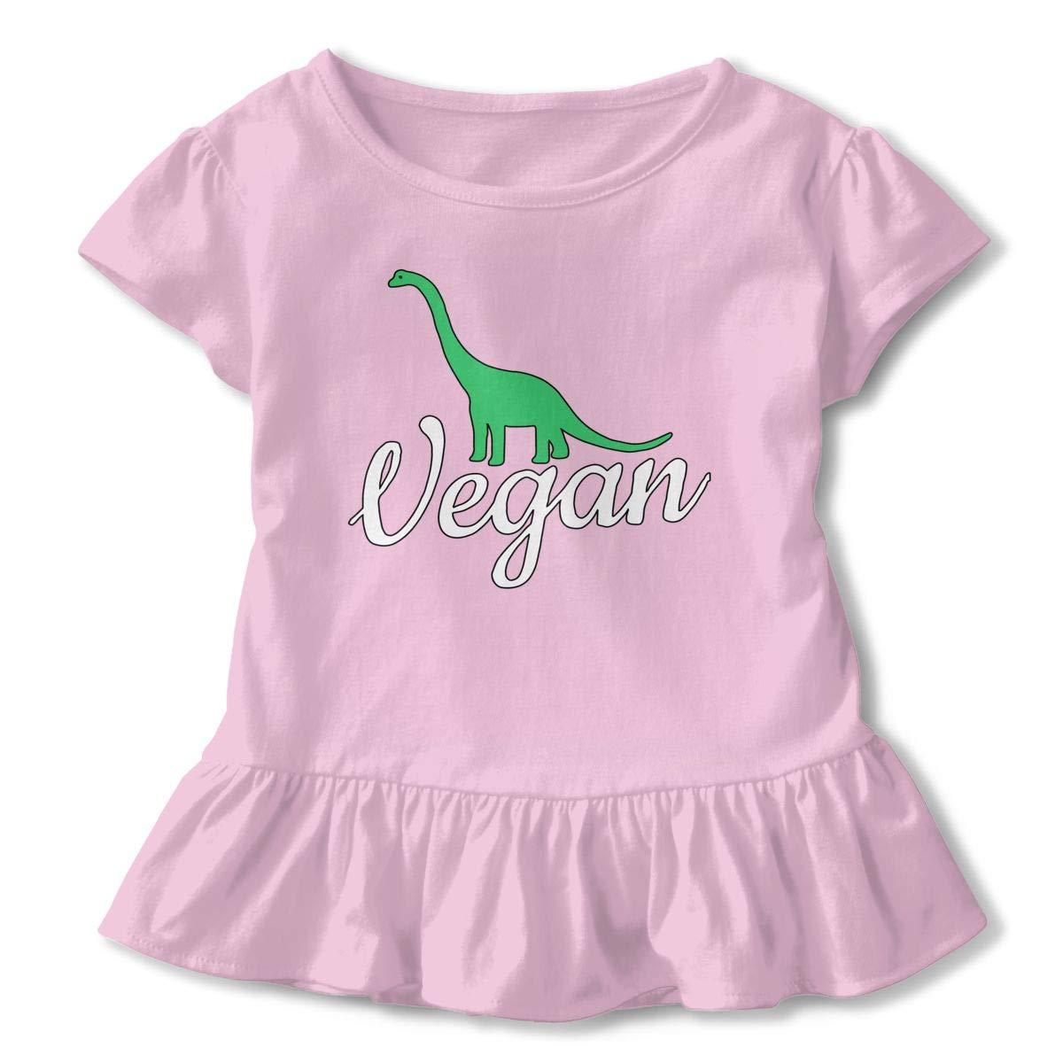 CZnuen Vegan Dinosaur Vegan Baby Girls Round Neck Short Sleeve Ruffle T-Shirt Top