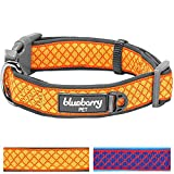 Blueberry Pet 2 Colors Soft & Comfy Urban Chic Diamond Pattern Neoprene Padded Dog Collar, Yellow, Medium, Neck 14.5