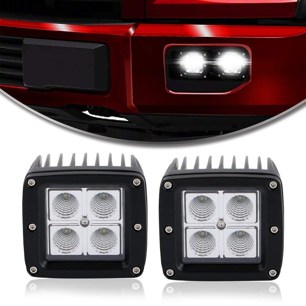 Dot 3x3 Inch 16w Cube Pods Flood Offroad Driving Fog Auxiliary Lights Wiring For Jeep Reverse Backup Work Lamp Boat Truck Bumper Wrangler Cherokee Xj