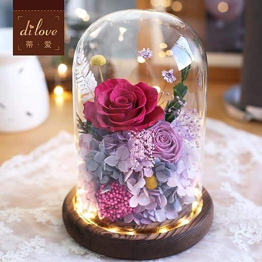 Flor Eterna Caja De Regalo Rosa Cubierta De Cristal Luces De ...