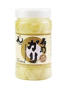 YUHO Pickled Sushi Ginger, Japanese White Gari Sushi Ginger Fat Free, Sugar Free, Kosher, BRC, No MSG, Low cal