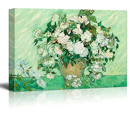 (wall26 - Still Life: Vase with Pink Roses by Vincent Van Gogh - Canvas Print Wall Art Famous Painting Reproduction -32