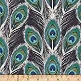 Art Gallery Fabrics Art Gallery Decadence Paon Plumes Royal Rayon Challis Fabric by the Yard, Black