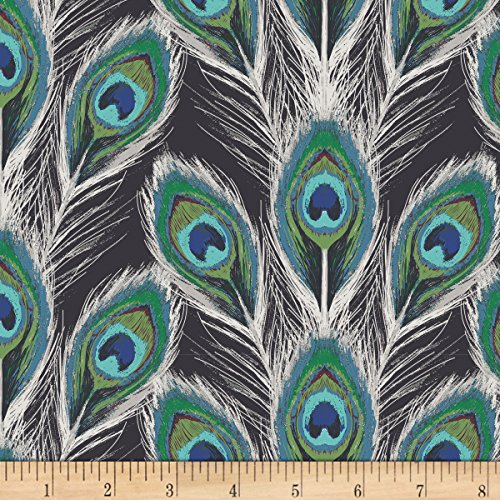 Art Gallery Fabrics Art Gallery Decadence Paon Plumes Royal Rayon Challis Fabric by the Yard, Black by Art Gallery Fabrics