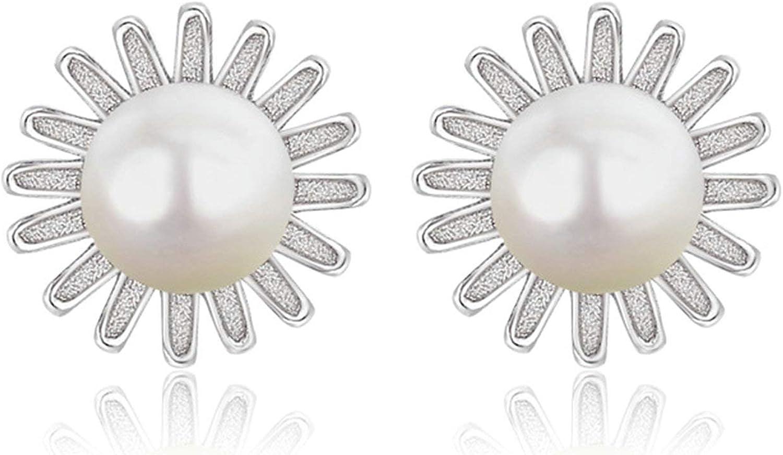 Daesar Pendientes Aro Mujer Plata de Ley Flor con Perla Circonita Blanca Pendientes de Plata