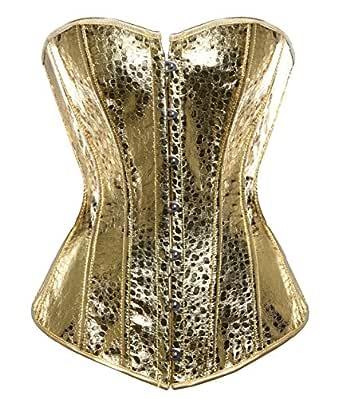 aubluland Women's Sequins Faux Leather Overbust Burlesque Corset Golden L