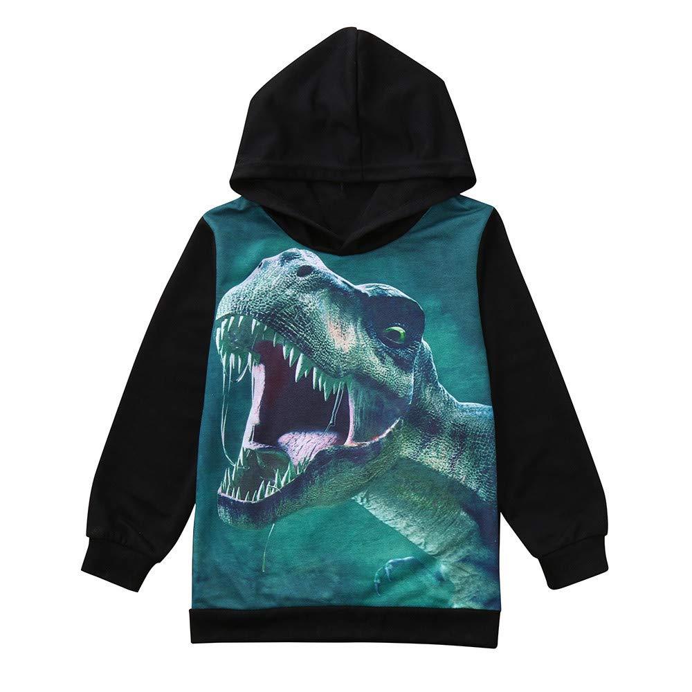 LIKESIDE Children Boy Girls Long Sleeves Cartoon Dinosaur Printed Hooded Sweater