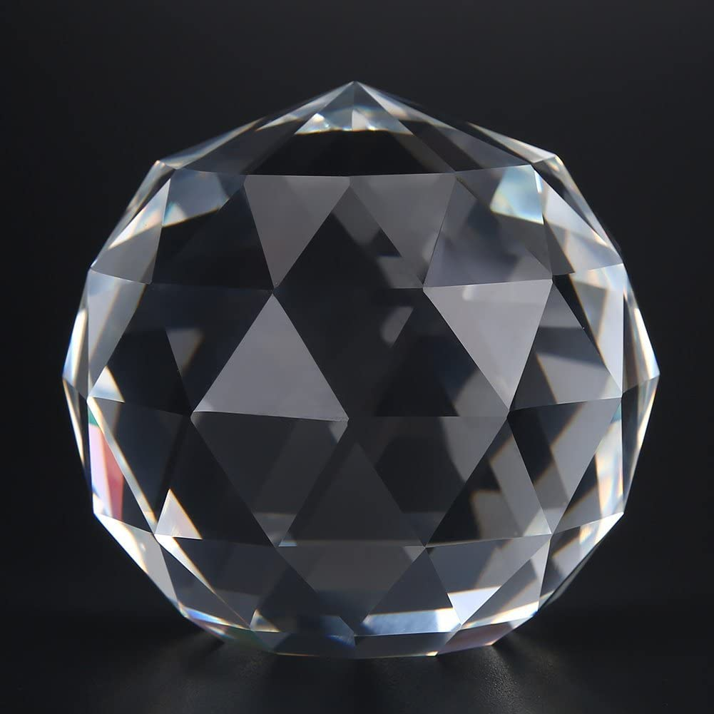 Hilitand 1pc Boule de Verre Clair Prismes Boule Coupe Cristaux Prismes Artificielle Boule /à Facettes pour D/écoration de la Maison 60//80mm 60MM//2.36in