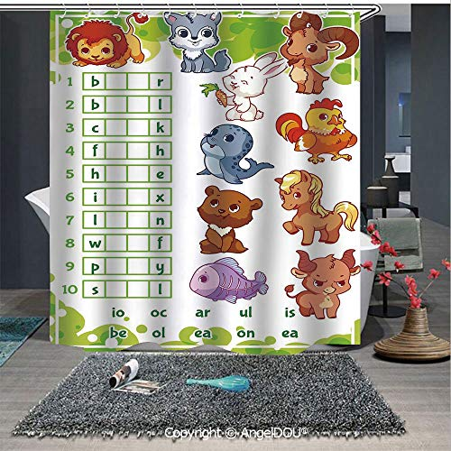 AngelDOU Word Search Puzzle Polyester Waterproof Shower Curtain Rebus Game with Animals for Preschool Kids Find Correct Part of Words Decorative for Bathroom Decoration with Free Hooks -