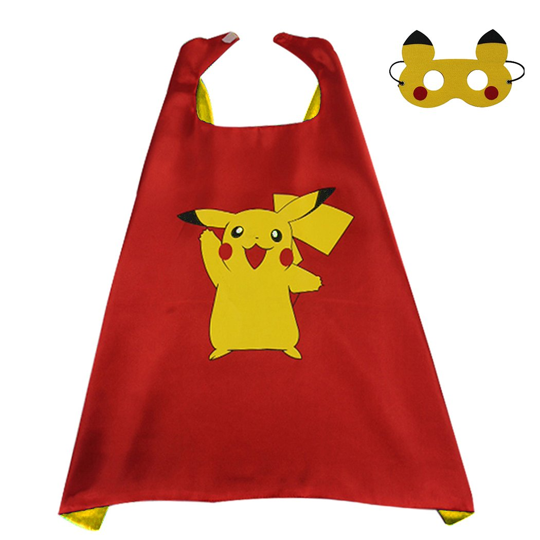 Whoopgifts Pokemon Pikachu Costume Kids Superhero Cape and Mask, Halloween Cosplay Party Costume