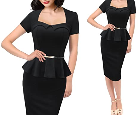 aca0b02a42 Women Elegant Ruffles Vintage Retro Summer Belt Black Business Casual Party  Dresses 13