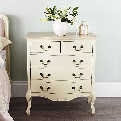 Juliette Shabby Chic Champagne Chest Of Drawers. French Cream 5 Drawer  Chest With Limed Finish