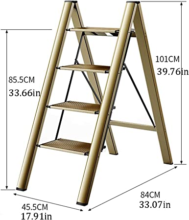 SJASD Escalera Plegable Robusto 4 peldaños Escalerilla de Aluminio Antideslizante y Multifunción Escalera Doméstica Plegable,Metálico: Amazon.es: Hogar