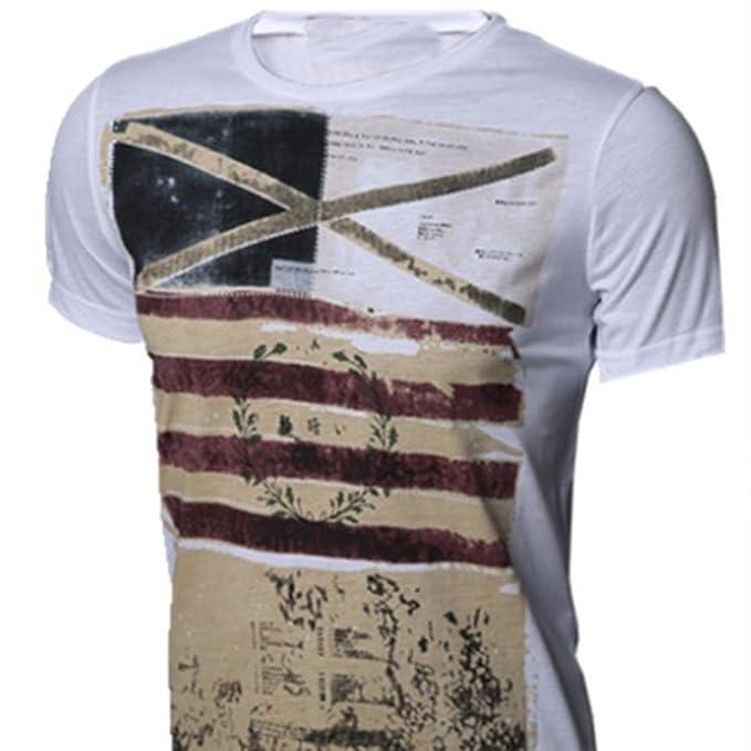 Naturazy La Blusa Superior Delgada De Manga Corta Camiseta Los Hombres Personalidad Moda Ocasionales Camisetas Hombre