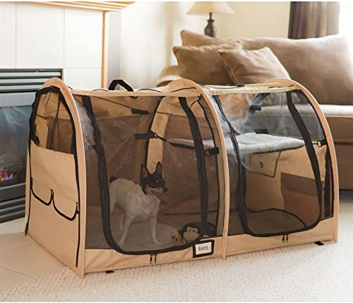 Portable Dual Compartment Soft-Side Small Pet Kennel Crate