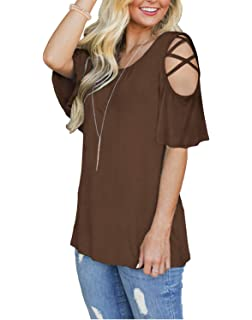 3e9ca640b6def6 LILBETTER Women s V Neck T Shirts Casual Loose Hollow Out Shoulder Blouses