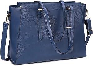 Laptop Bag for Women 15.6 Inch Waterproof Laptop Tote Bag Large Leather Computer Briefcase Womens Business Professional Office Work Bag Lightweight Shoulder Handbag,Navy