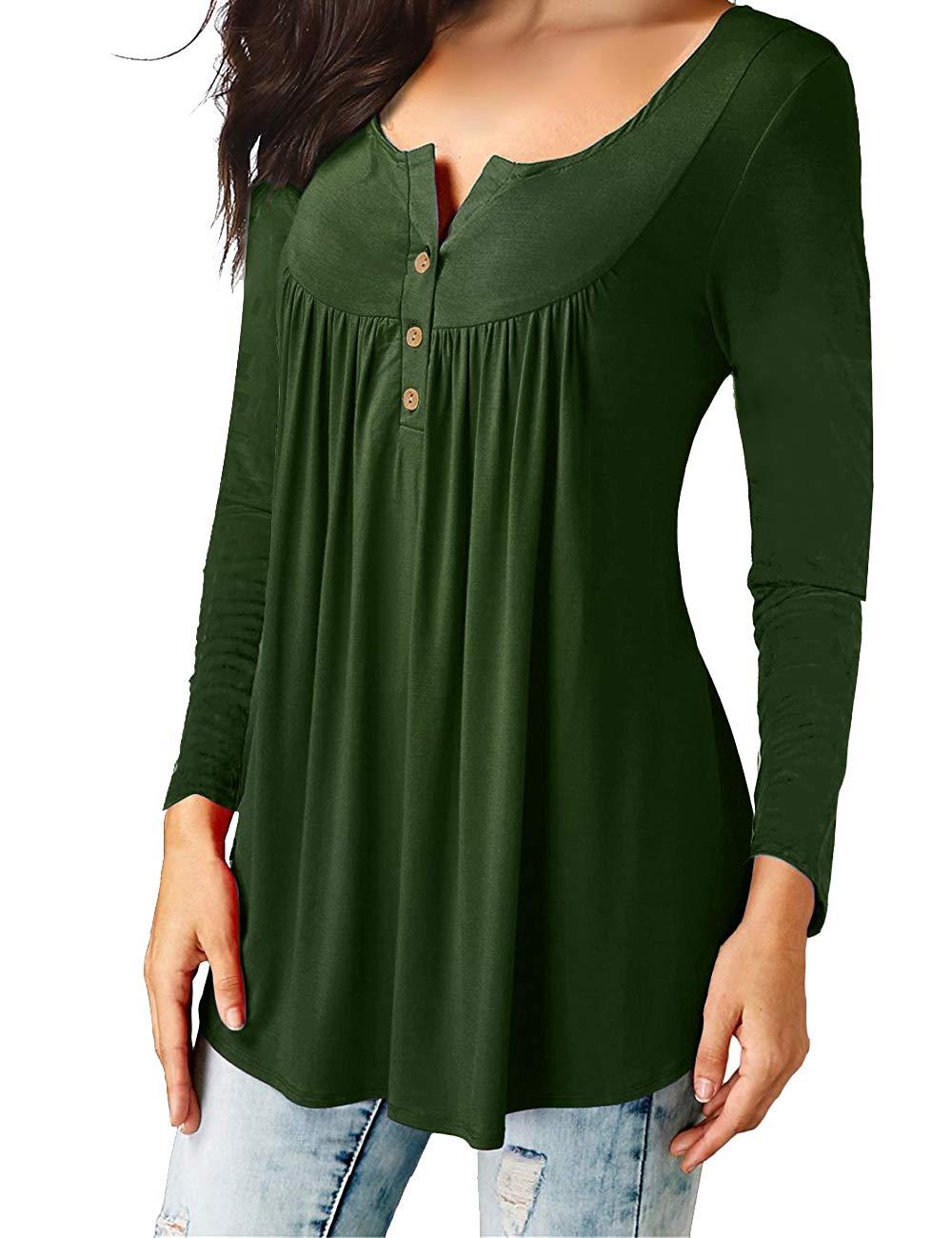Eanklosco Camisetas Cuello en V Casual Manga Larga para Mujer (Verde, L/ES 46-48)