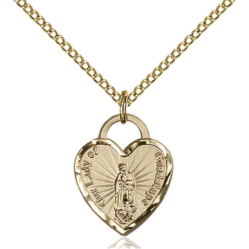 Gold Filled Our Lady of Guadalupe Heart Pendant 5/8 x 1/2 inches with Gold Filled Lite Curb Chain