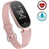 ZKCREATION Reloj Inteligente Mujer Fitness Tracker K3 Bluetooth Smartwatch Pulsera Inteligentes Actividad Monitor Cardio Podómetro IP67 Impermeable Monitor de Sueño Compatible con Android y iOS(Rosa)