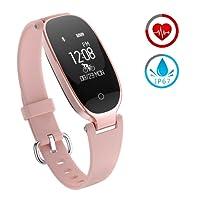 Reloj Inteligente mujer ZKCREATION Fitness Tracker K3 Bluetooth Smartwatch Pulsera Inteligentes Actividad Monitor Cardio Podómetro IP67 impermeable monitor de Sueño Compatible con Android y iOS(Rose)
