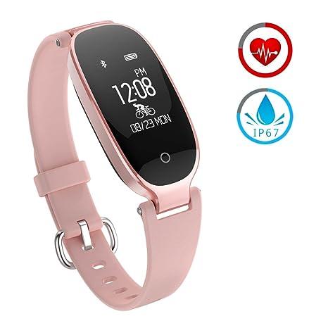 ZKCREATION Reloj Inteligente Mujer Fitness Tracker K3 Bluetooth Smartwatch Pulsera Inteligentes Actividad Monitor Cardio Podómetro IP67 Impermeable Monitor ...