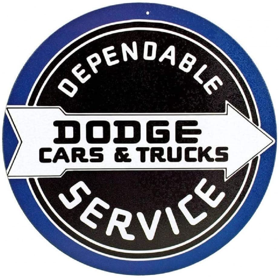 "Dodge Cars & Trucks Dependable Service Retro, Vintage, Look 12"" Round Tin Sign"