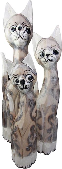 Amazon Com Balikraft Hand Made Wood Artisans Kucing Bayang Large Tan Feline Cats Family Set Of 3 Decorative Figurines 20 H Home Kitchen