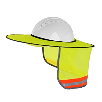 Hard Hat Sun Shield Full Brim Mesh Neck Sun-Shade Protection with Visor for Hardhats High Visibility and Reflective