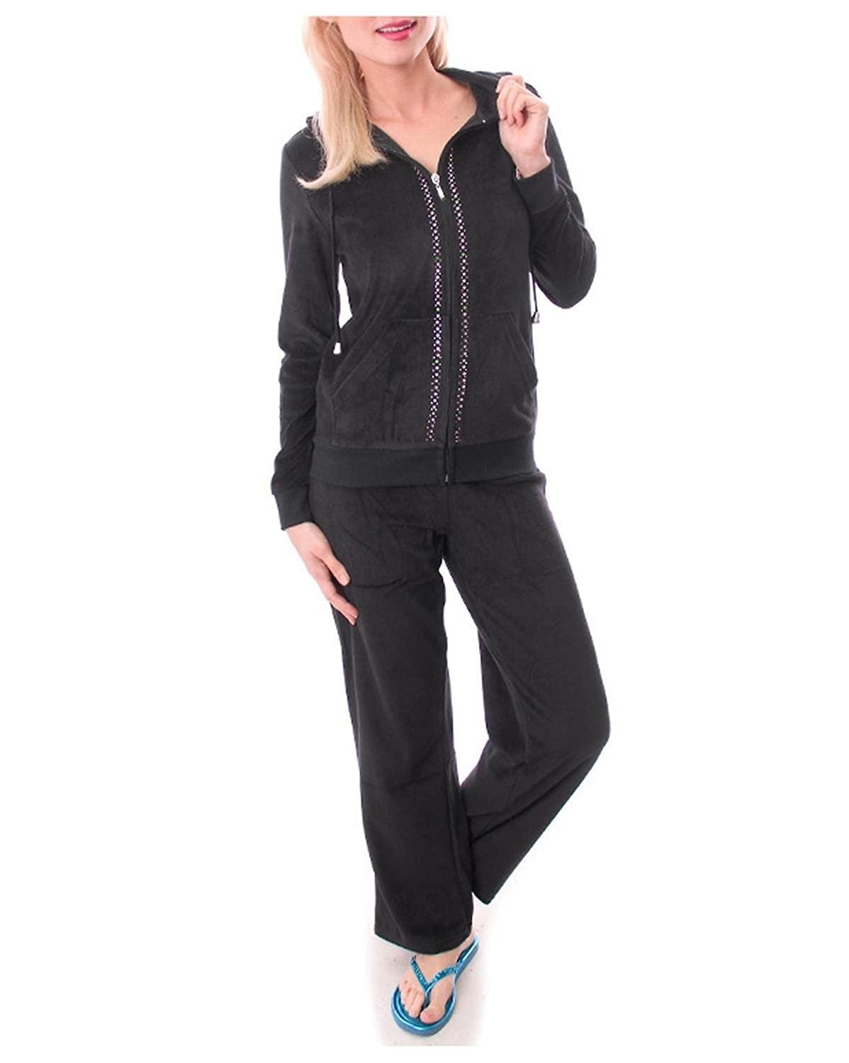 G2 Chic Women's Two Piece Velour Tracksuit with Embellishment BLKA1-M)